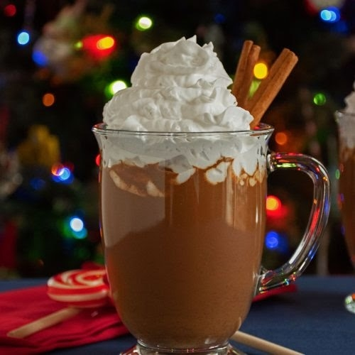 gingerbread hot cocoa in glass mug topped with whipped cream and in front of christmas tree with lights
